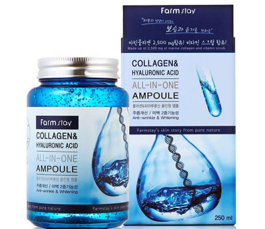 Ампульная сыворотка с гиалуроновой кислотой и коллагеном FarmStay Collagen Hyaluronic Acid All-In-One Ampoule, 250 ml.