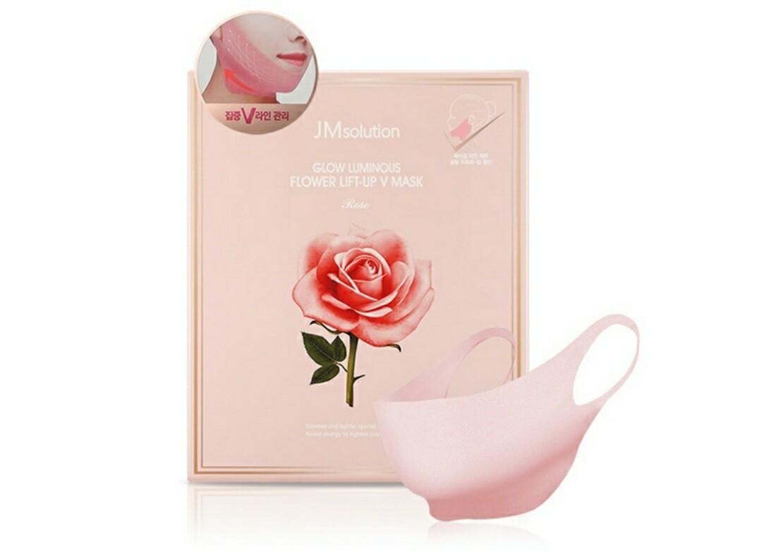 Маска для подтяжки контура лица с розовой водой JMsolution Glow Luminous Flower Lift-Up V Mask, 25 гр.
