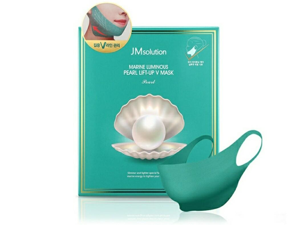 Маска для подтяжки контура лица с протеинами жемчуга JMsolution Marine Luminous Pearl Lift-up V Mask, 25 гр.