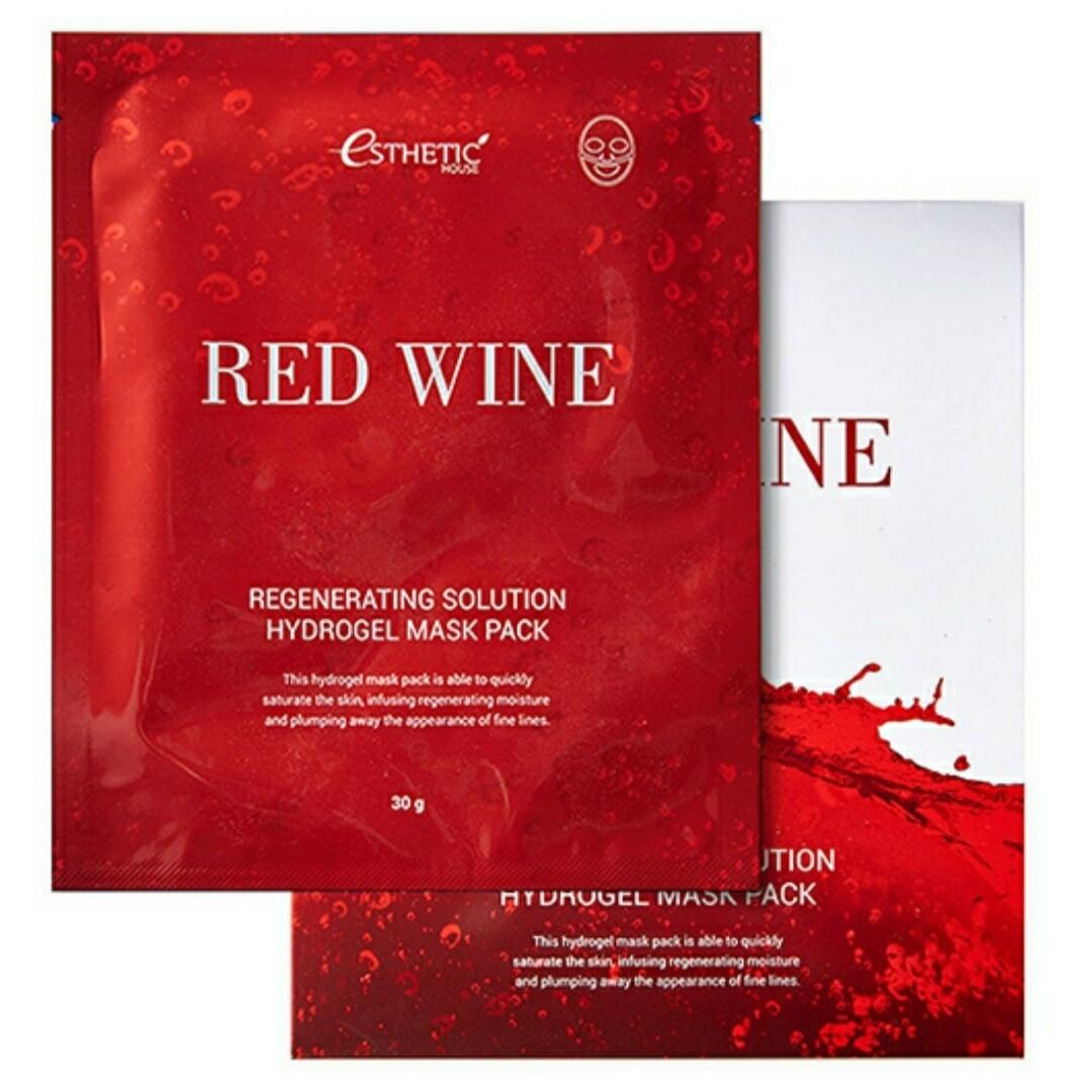 Гидрогелевая маска с красным вином Esthetic House Red Wine Regenerating Solution Hydrogel Mask Pack, 28 гр.
