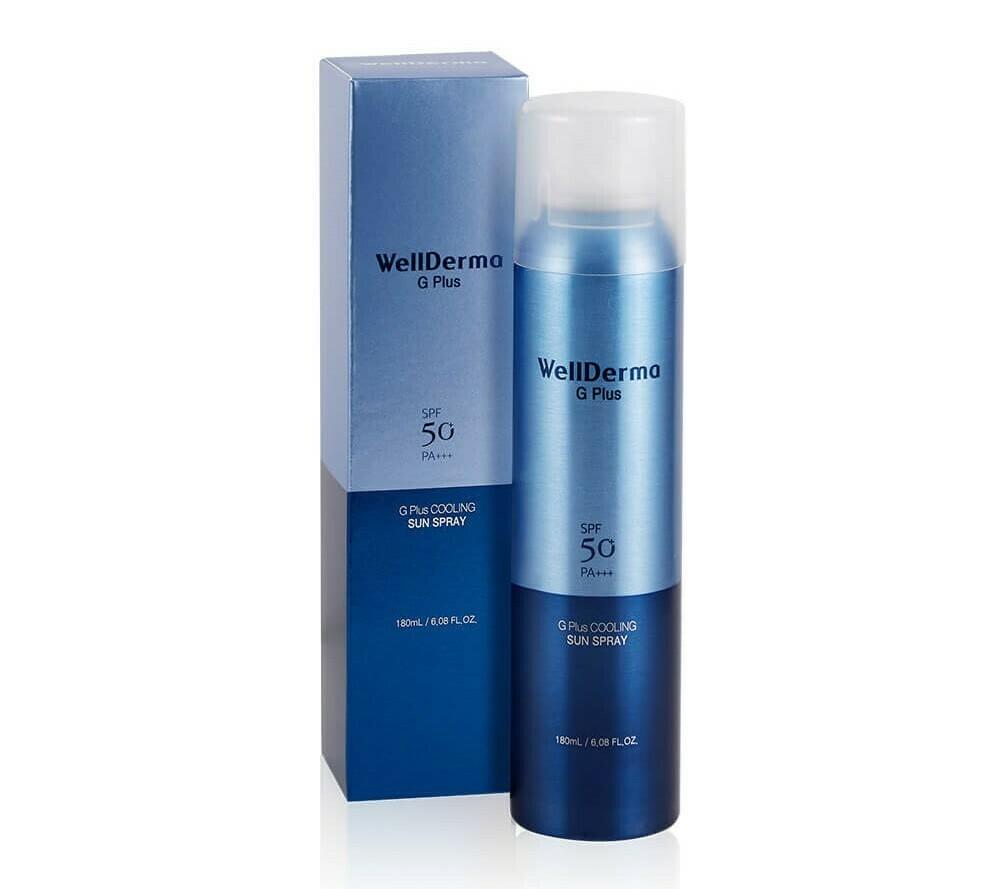 Cолнцезащитный спрей Wellderma G Plus Cooling Sun Spray SPF50 PA++++, 180 мл