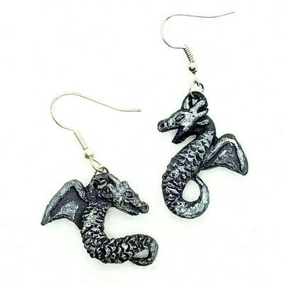 Happy dragon silver dangle earrings