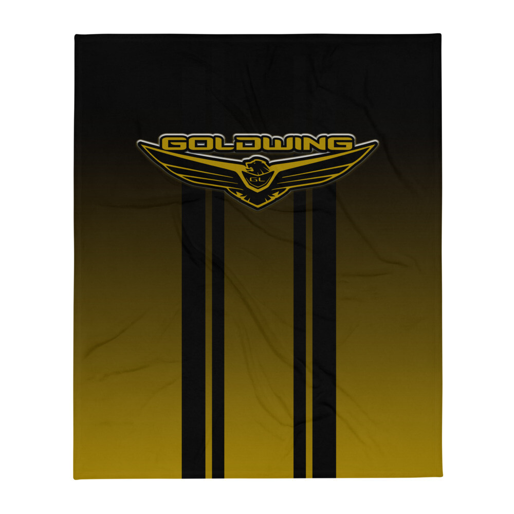 new goldwing logo black and gold Throw Blanket