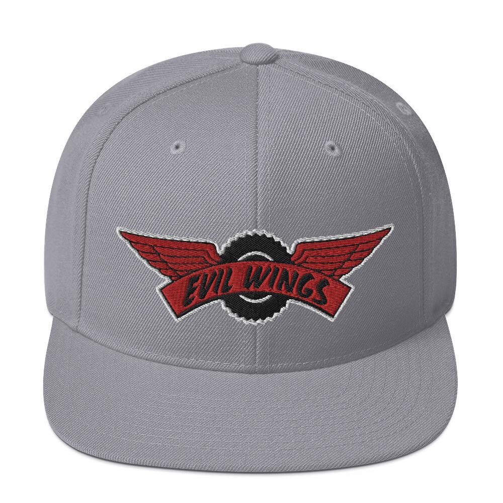 Evil wings Snapback Hat (White Trim Logo)