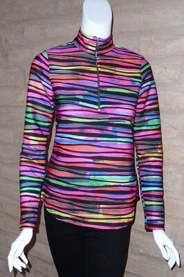 TWISTED PRINT ZIP NECK PULL-OVER