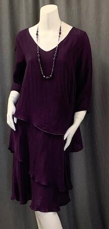 CUPRO RAYON 3/4 SLV LAYERED DRESS