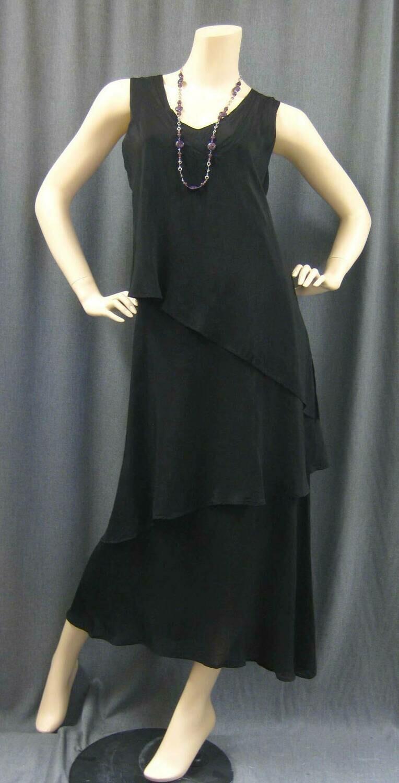CUPRO RAYON SLVLESS LAYERED LONG DRESS