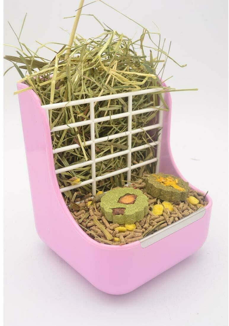 Hay and Food Feeder 2 in 1 Hay holder and Food Feeder Bowls Rabbit Guinea Pig and Other Small Animals 2 in 1