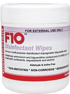 F10 Disinfectant Wipes 100's