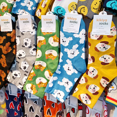 Cute Puppy Medium Height Women Socks (Size 3-8)