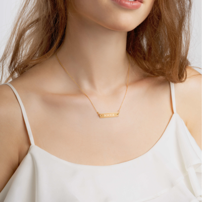 2019 Roman Numeral - Bar Chain Necklace