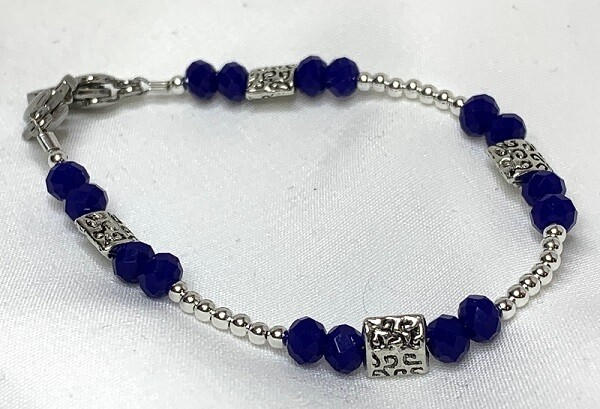 Blue Crystal Silver Decorative Medical ID Alert Replacement Bracelet