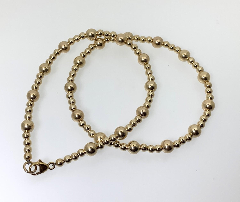 Gold Beaded Bracelet 3mm & 5mm