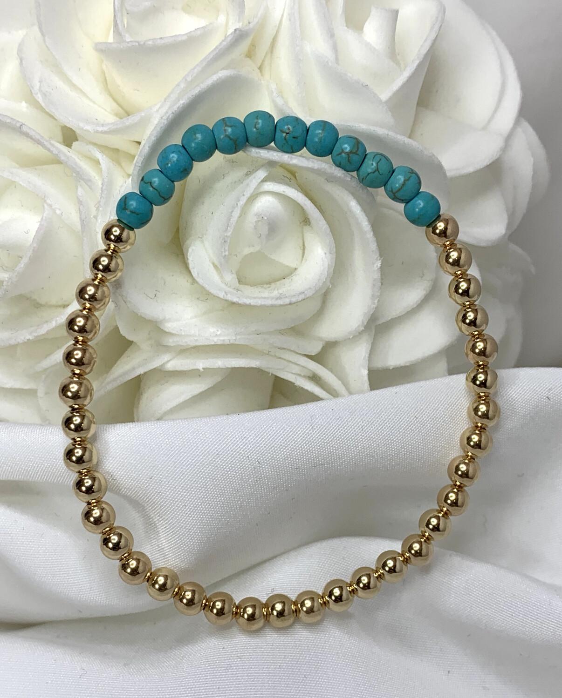 Turquoise Gold Beaded Bracelet