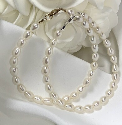 White Pearl Bracelet or Ankle Bracelet (Gold or Silver Clasp)
