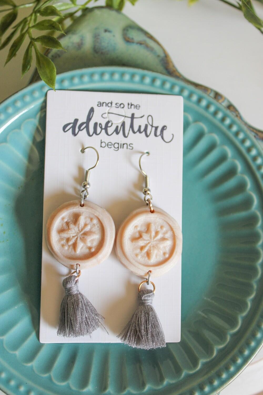 TRUE NORTH Compass Clay Handmade Earrings