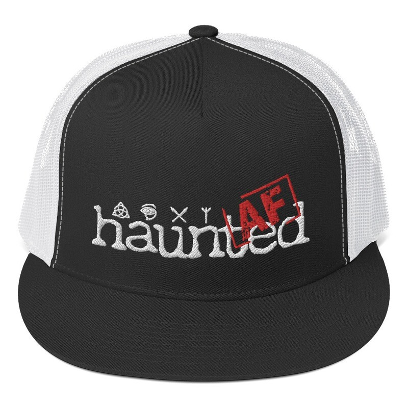 Haunted AF Black Trucker Cap/ White Logo