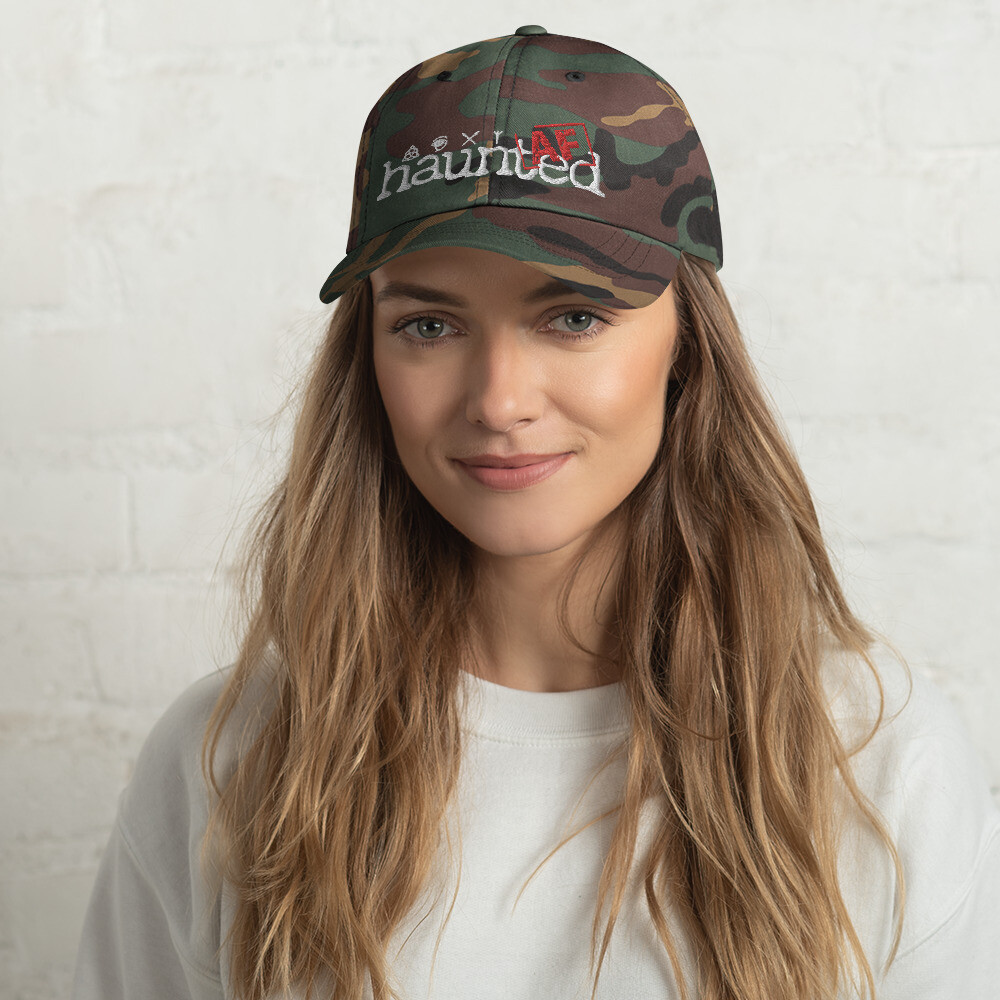 Haunted AF Camo Dad hat (White Logo)
