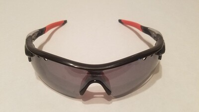 Sport Style Sunglasses :: Black Frames w/ Orange Nose and Earpiece