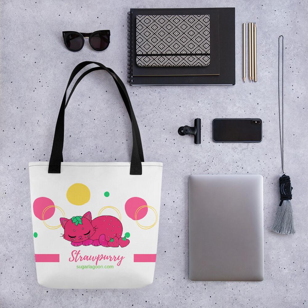 Strawpurry Fruit Kitties Tote bag