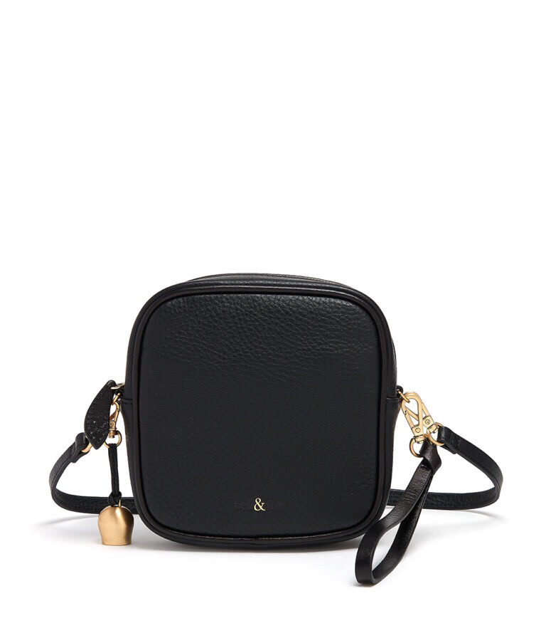 Bell & Fox MARLO Mini Square Bag/Wristlet Clutch Black Leather