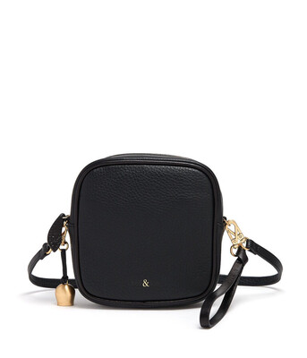 Bell & Fox MARLO Mini Square Bag/Wristlet Clutch Black Leather