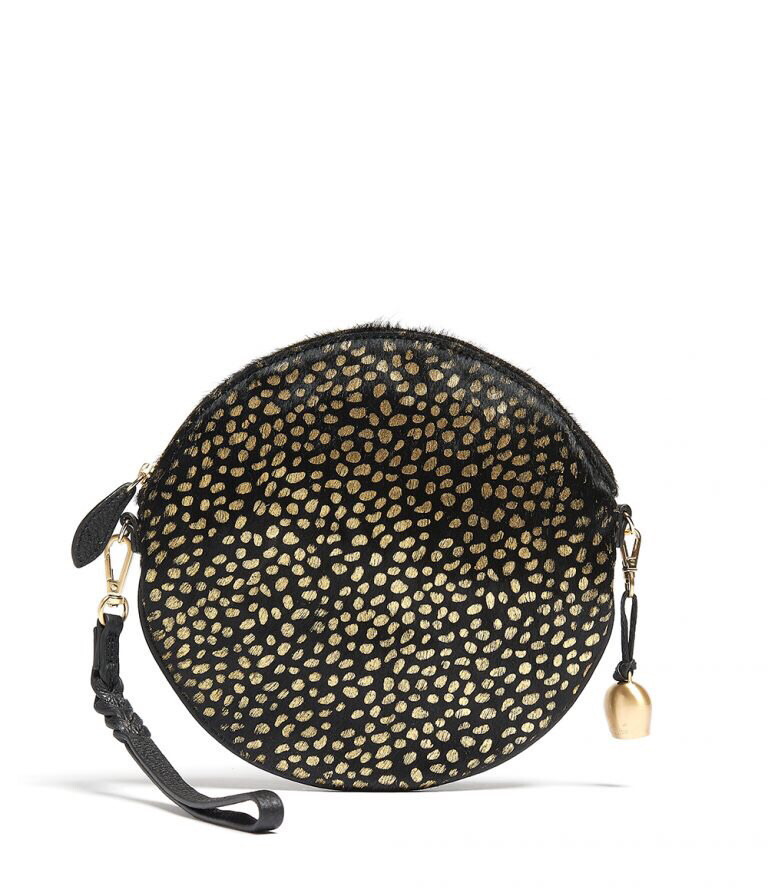 Bell & Fox LUNA Round Crossbody/Wristlet Clutch Gold Foil