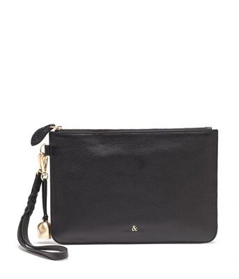 Bell & Fox MILA Wristlet Clutch Black Leather