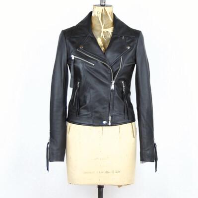 LAB Classic Leather Biker Jacket Black