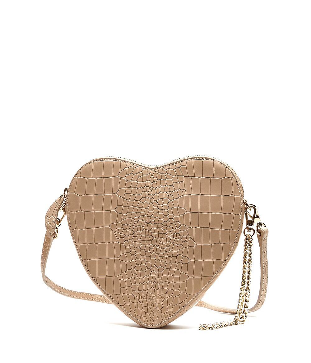 Bell & Fox AMOUR heart Crossbody / Wristlet Clutch Bag - Croc Camel