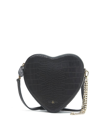 Bell & Fox AMOUR Heart Crossbody I wristlet Clutch Bag - Croc Black