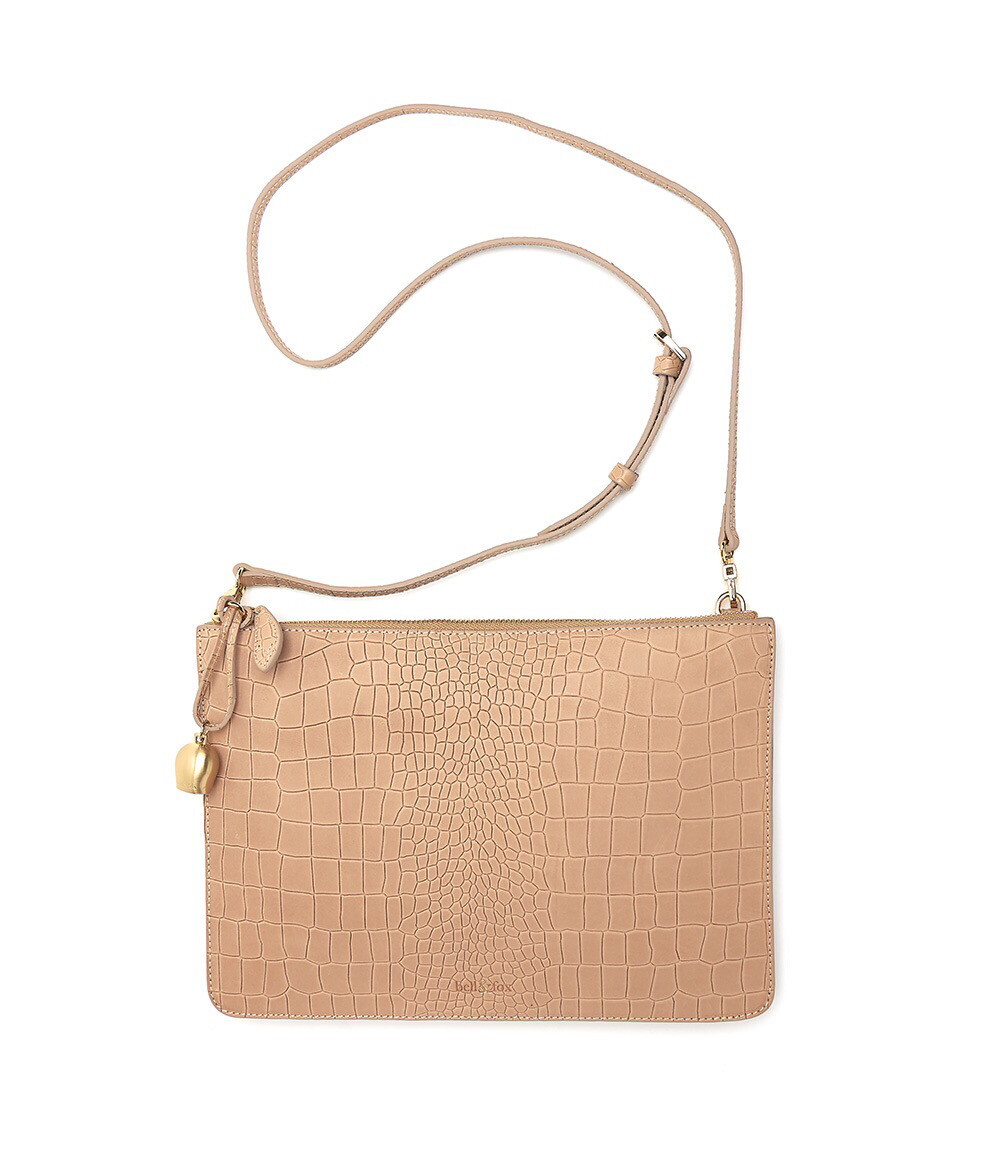 Bell & Fox GIA oversized Clutch / Crossbody Bag - Croc Camel