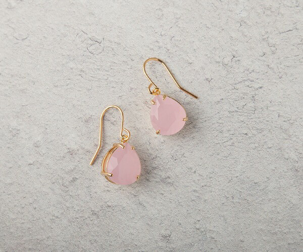 Claire Hill Pale pink & Gold Teardrop Earrings
