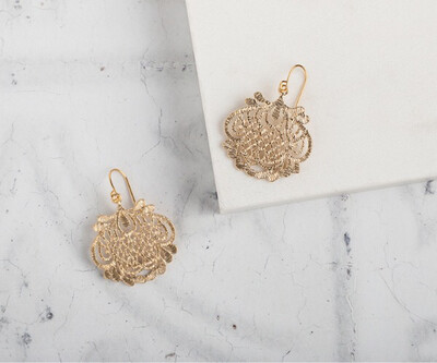 Claire Hill Art Deco Style Gold Floral Filigree Pendant Earrings