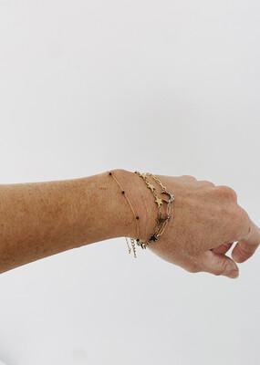 Gold Plated Black Dotty Bracelet