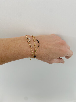Gold Plated Black Spinel Tiny Beaded Bar Bracelet
