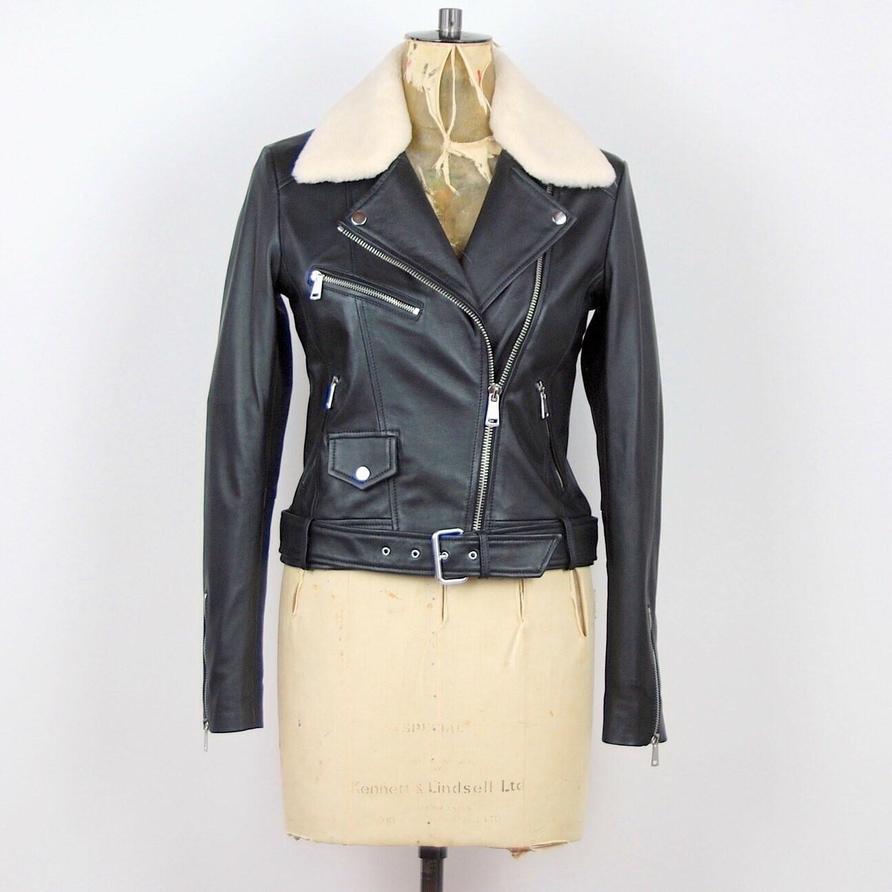 LAB Belted Biker Jacket With Faux Fur Collar - Black