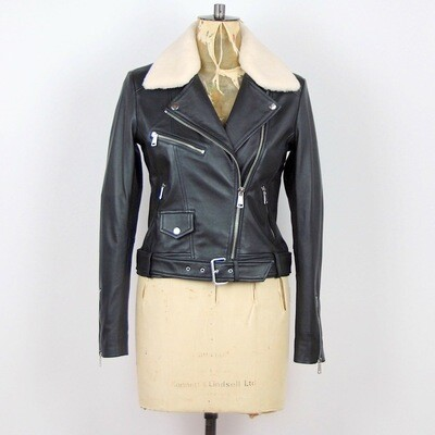 LAB Belted Biker Jacket With Faux Fur Collar - Black