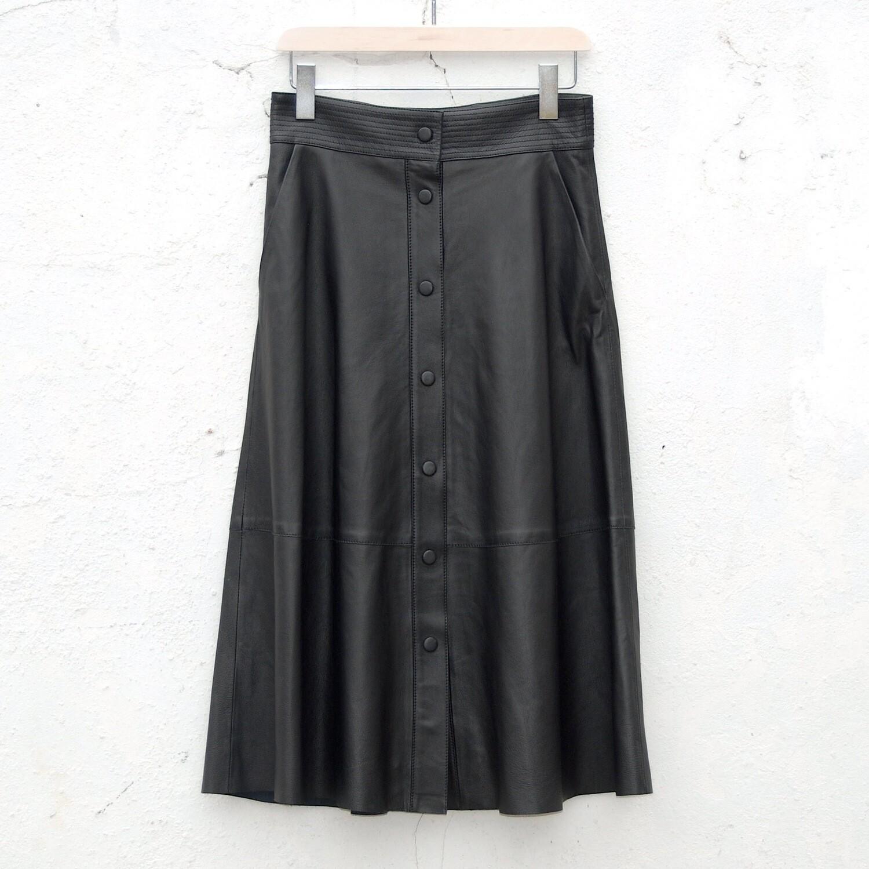 LAB Button Front A Line Skirt - Black
