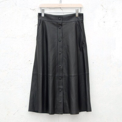 LAB Button Front A Line Skirt - Black