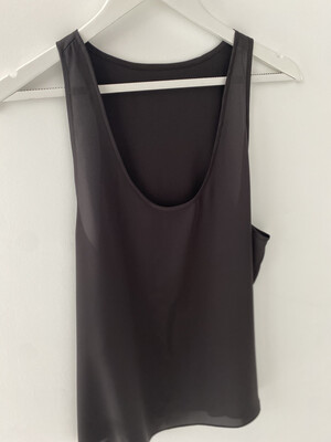 Racer Back Silk Tank - Black