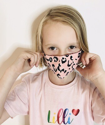 Kids Leopard Print Mask - Yellow, Pink, Grey