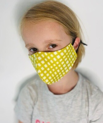 Kids Yellow Check Non Medical  Face Covering
