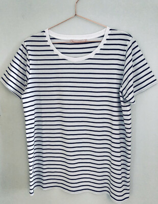 Ivy - Mabel Breton Organic Cotton Crew - Navy/White