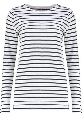 Ivy - Layla Organic Cotton Long Sleeve Breton - Navy/White