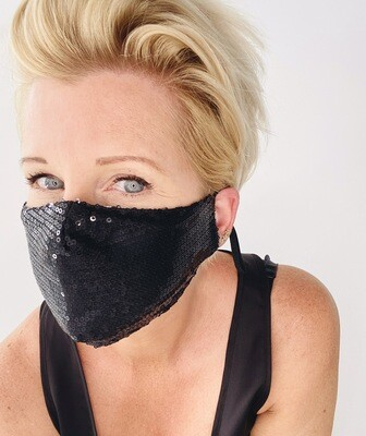 Sequin Non Medical Face Covering - Black