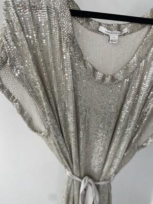 Sequin Pre Loved Diane Von Furstenburg Dress - Silver