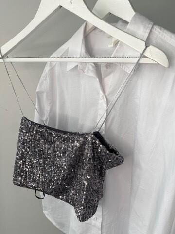 Sequin Crop Top Bralette -Zara Pewter