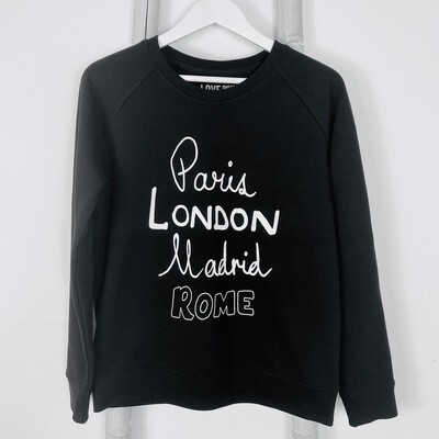 Love Sweat & Tee's Paris London Madrid Rome Sweatshirt - Black