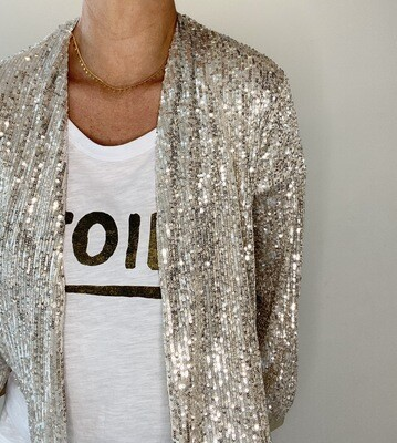 Sequin Jacket Cardigan - Pale Gold